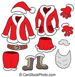 Santa Clauses clothes collection - isolated illustration.