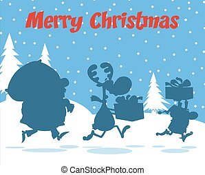Santa Claus,Reindeer And Elf