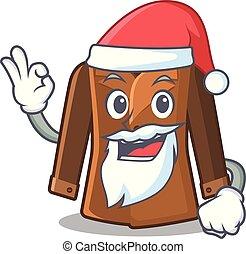 Santa coat hung behind the cartoon door