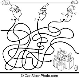 santa, colorare, claus, libro, caratteri, labirinto
