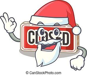 Santa colsed sign toys on the cartoon
