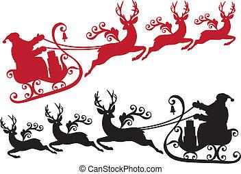 santa, com, sleigh, e, rena