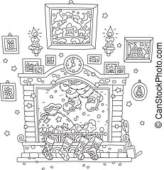 Santa coming down the chimney - Black and white vector...
