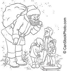 santa, con, niños, contorneado
