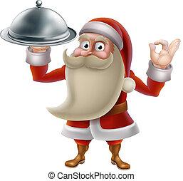 Santa Cooking Christmas Food - Santa Claus character cooking...