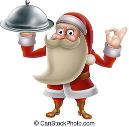 Santa Cooking Christmas Food - Santa Claus character cooking...