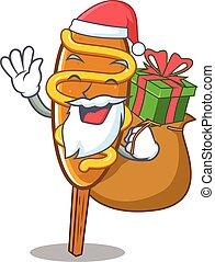 Santa corn dog Cartoon character design having box of gifts