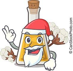 Santa cottonseed oil at the cartoon table vector ...