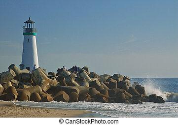 Santa Cruz Beach - The beach in Santa Cruz, California, with...