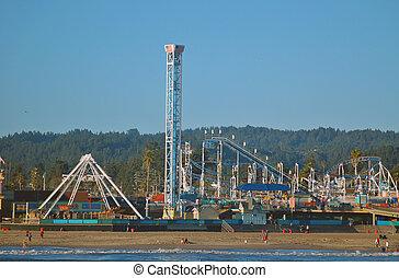 Santa Cruz Boardwalk - Fair rides on the boardwalk in Santa...