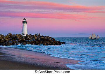 Santa Cruz Breakwater Lighthouse in Santa Cruz, California...