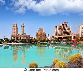 Santa Cruz de Tenerife in Plaza de Espana lake