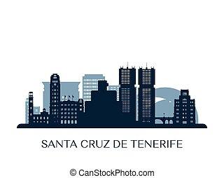 Santa Cruz de Tenerife skyline, monochrome silhouette. Vector illustration.