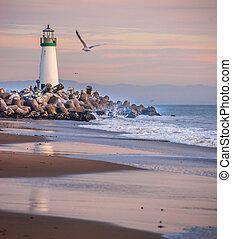 Santa Cruz Harbor lighthouse - Dusk falls on Walton...