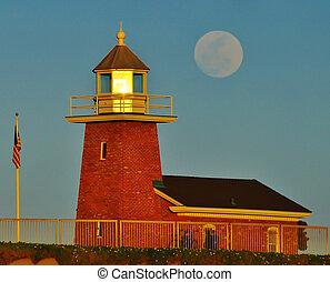 Santa Cruz Lighthouse full moon - Santa Cruz lighthouse with...