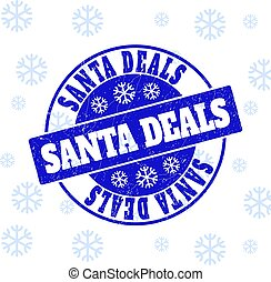 Santa Deals Scratched Round Stamp Seal for New Year