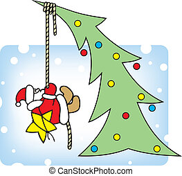 Santa decorates a Christmas tree.