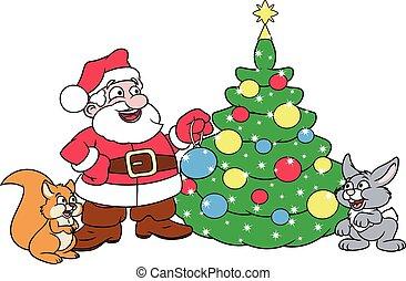 Santa decorating Christmas tree 3