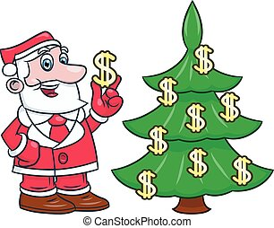 Santa decorating tree with dollars 2