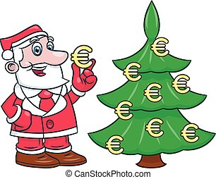 Santa decorating tree with euro 2