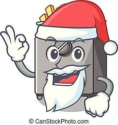 Santa deep fryer machine isolated on mascot vector...