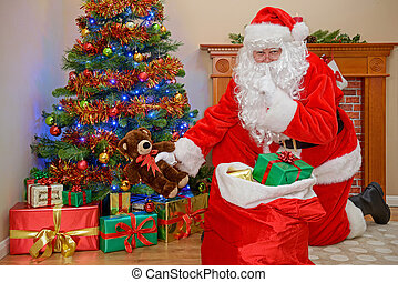 Santa delivering Christmas presents.