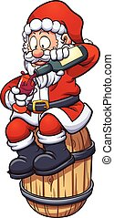 Santa drinking wine - Cartoon Santa Claus drinking a cup of...