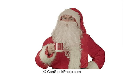 Santa drinks from a red cup on white background