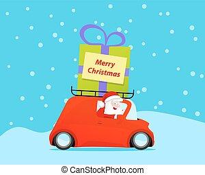 Santa drive christmas car with gift