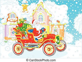 Santa driving a car with gifts - Vector illustration of...