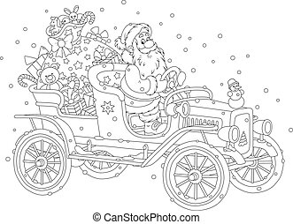 Santa driving a car with gifts - Black and white vector...