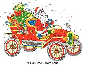 Santa driving a car with gifts