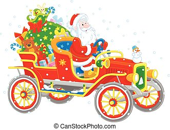 Santa driving a car with gifts