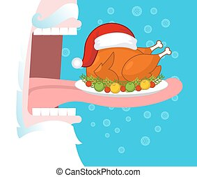 Santa eating Christmas turkey. Open mouth and teeth. Long tongue. Food for holiday. fowl Santas red hat