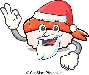 Santa ebi sushi mascot cartoon