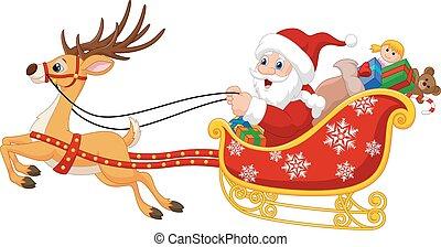 santa, el suyo, caricatura, trineo, navidad