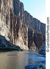 Santa Elena Canyon's sheer cliffs on the Rio Grande at sunset, Big Bend National Park, on the Texas and Mexico border, with Texas on the right-hand side and Mexico on the left-hand side, US