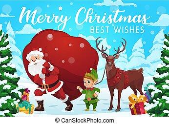 Santa, elf and deer with Christmas gifts