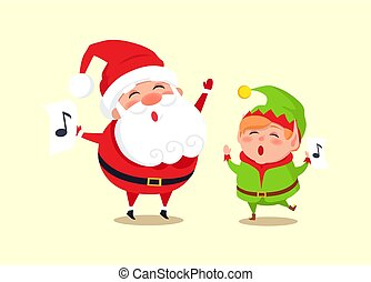Santa Elf Cartoon Characters Singing Carol Songs