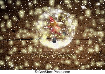 Santa elf in a glass snowball, Christmas card