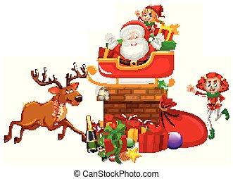 santa, elfes, deux, cheminée