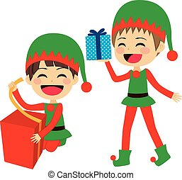Santa Elves Helpers - Cute Santa elves helpers wrapping and...
