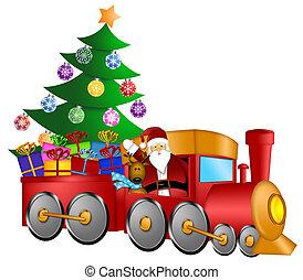 santa, em, trem, com, presentes, e, árvore natal