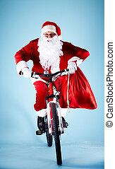 santa, en, bicicleta
