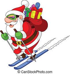 santa, esquiando