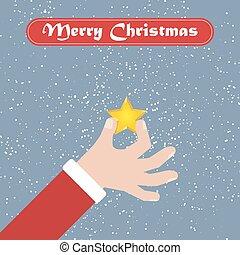 santa, estrela, Saudação, mão, fundo, Natal, Fita