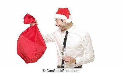 santa, exposition, surprisingly, jeune, ralenti, tenue, homme affaires, champagne, bag., rouges, beau