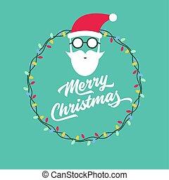 santa, face., claus, saudação, feliz, ano, novo, cartão natal
