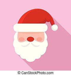 Santa face icon, flat style