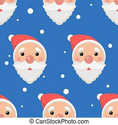 Santa faces seamless pattern. New Year and Merry Christmas background. Vector illustration